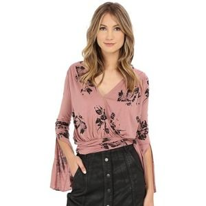 Free People Fiona Mauve Floral Wrap Tie Top Small